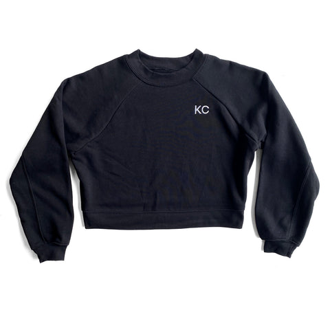 KC CROP TOP SWEATSHIRT - BLACK