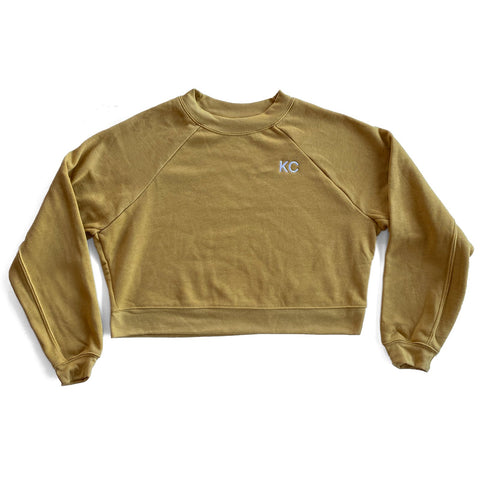 KC CROP TOP SWEATSHIRT - MUSTARD