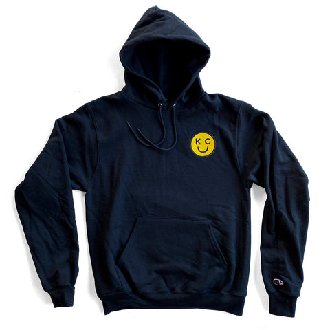 KC SMILEY PATCH HOODIE - BLACK