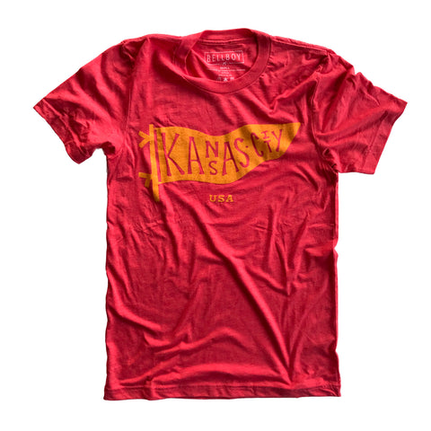 KC PENNANT T-SHIRT - RED/YELLOW
