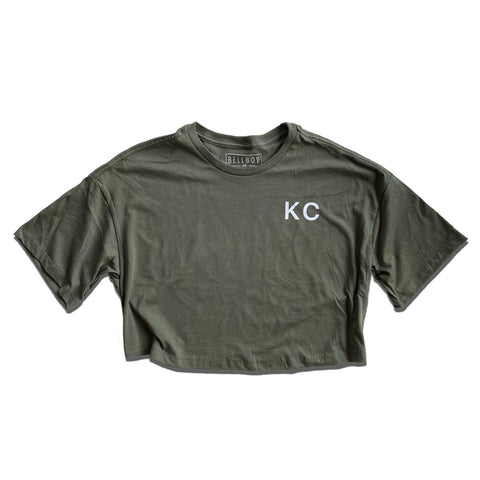 KC CROP TOP T-SHIRT - DARK GREEN