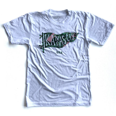 KC PENNANT T-SHIRT - WHITE/PALM TREE