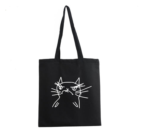 FUNNY ANGRY CAT PROMO TOTE BAG BLACK GRUMPY KITTEN GET2WEAR POPULAR