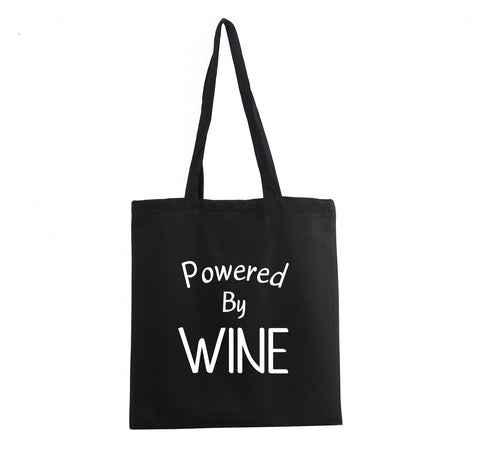 POWERED BY WINE TOTE BAG GET2WEAR COTTON DRINKING SHOPPING BLACK