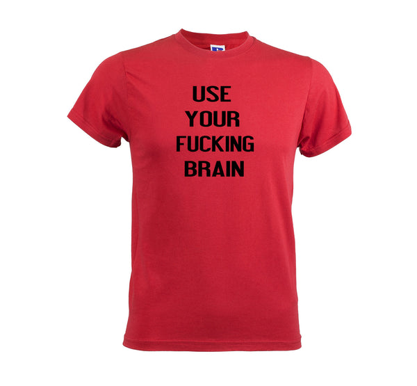 Use Your Brain Men's T-shirt Tshirt Red get2wear printed tee gift