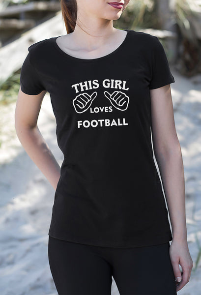 This Girl Loves Football Women's T-Shirt tshirt black sports get2wear UK USA Beautiful