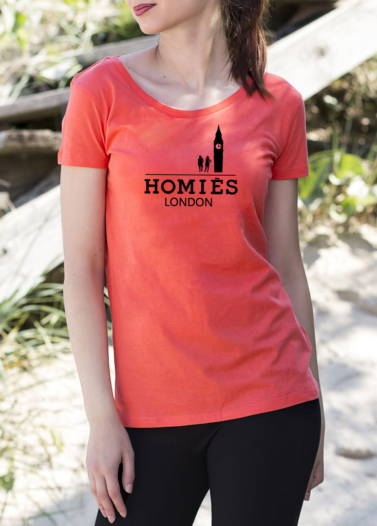 Homies London Women's ladies T-Shirt tshirt get2wear big ben uk coral