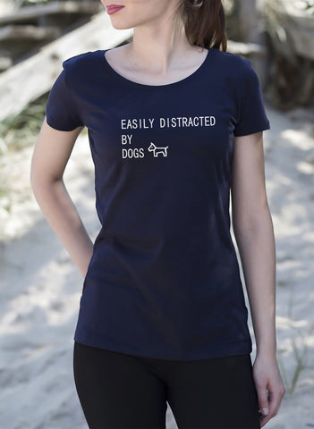 Easily Distracted By Dogs Women's Ladies T-Shirt tshirt dog lover person doggy style gift get2wear navy