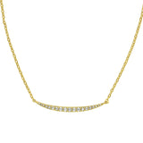Curved Bar Necklace - Crystal/Gold Plated