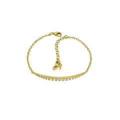 Curved Bar Bracelet - Crystal/Gold Plated