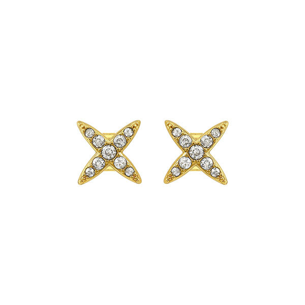 4 Point Star Earrings - Crystal/Gold Plated