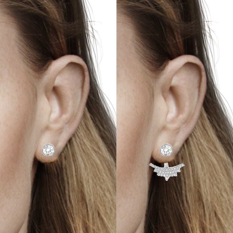 Pavé Arc Jacket Earrings
