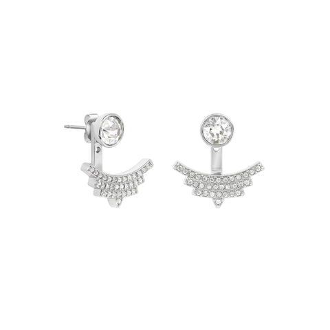 Pavé Arc Jacket Earrings - Crystal/Rhodium Plated