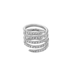 Pavé Coil Ring - Crystal/Rhodium Plated