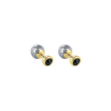 Reverse Pearl & Stone Earrings - Black Crystal/GoldPlated