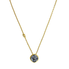 Soft Square Necklace - Silver Night Crystal/Gold Plated