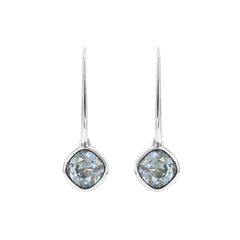 Soft Square French Wire Earrings - Blue Crystals/Rhodium Plated