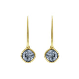 Soft Square French Wire Earrings - Blue Crystal/Gold Plated