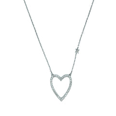 Pointed Open Heart Necklace - Crystal/Rhodium Plated
