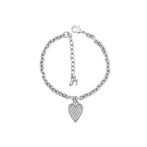 Pointed Heart Charm Bracelet - Crystal/Rhodium Plated