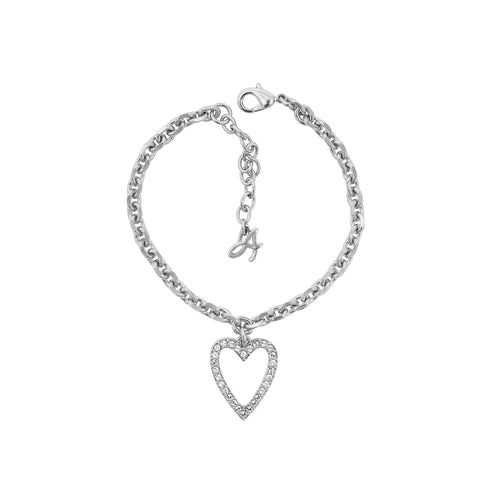 Pointed Open Heart Charm Bracelet - Crystal/Rhodium Plated
