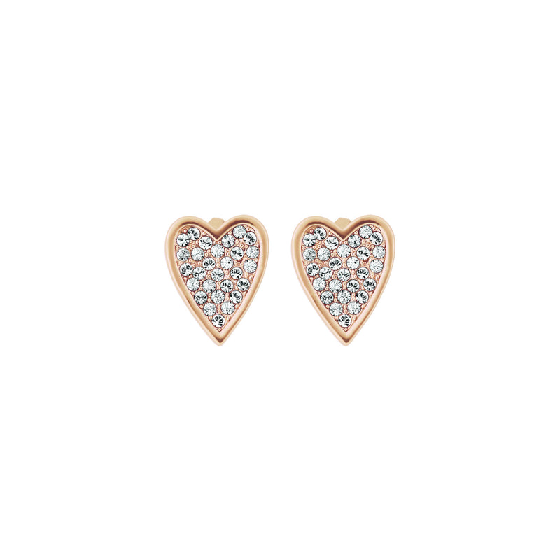 Pointed Heart Earrings - Crystal/Rose Gold Plated