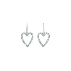 Pointed Open Heart Earrings - Crystal/Rhodium Plated