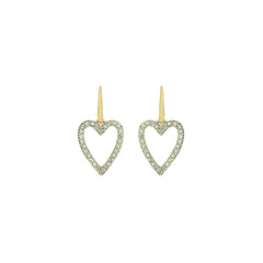 Pointed Open Heart Earrings - Crystal/Gold Plated