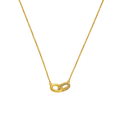 Oval Interlocking Link Necklace - Crystal/Gold Plated
