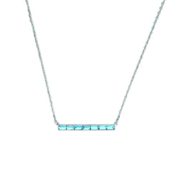 Baguette Bar Necklace - Aquamarine Crystal/Rhodium Plated