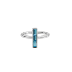 Baguette Bar Ring - Aquamarine Crystal/Rhodium Plated