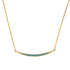 Curved Bar Necklace - Turquoise Crystal/Gold Plated