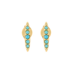 Pavé Navette Stud Earrings - Turquoise Crystal/Gold Plated