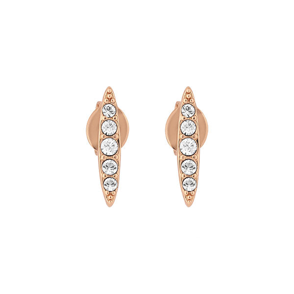 Pavé Navette Stud Earrings - Crystal/Rose Gold Plated