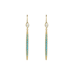 Linear Bar French Wire Earrings - Turquoise Crystal/Gold Plated