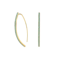 Pavé Arc Earrings - Turquoise Crystal/Gold Plated