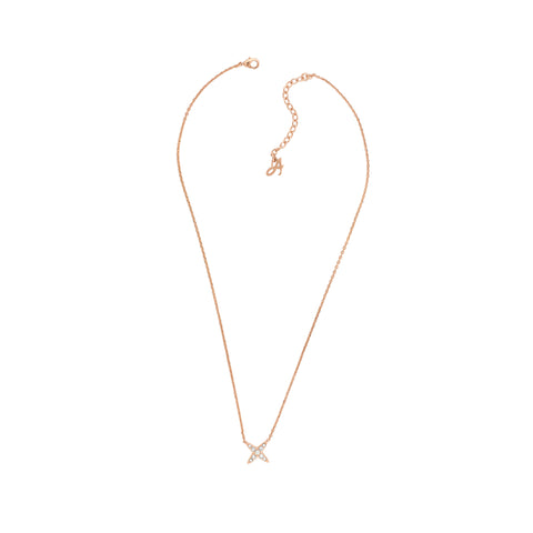 4 Point Star Necklace - Crystal/Rose Gold Plated