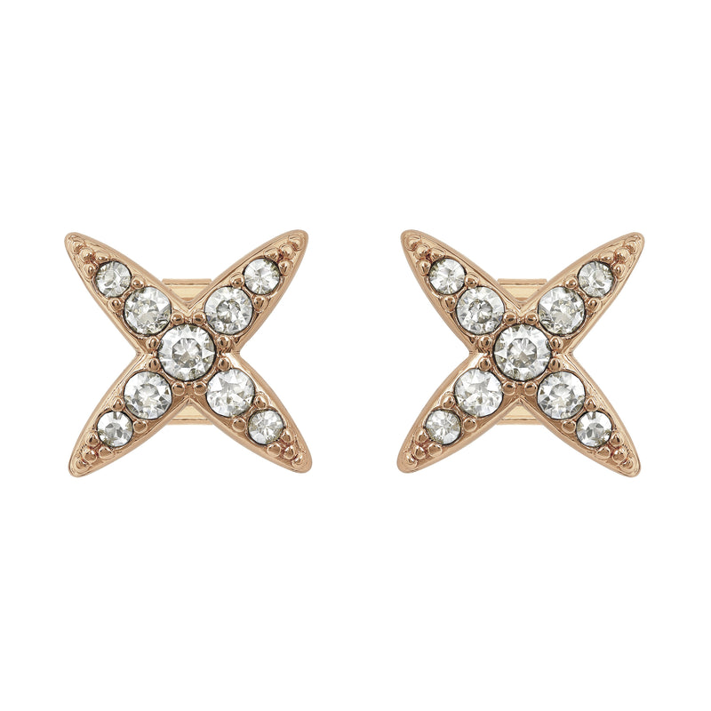 4 Point Star Earrings - Crystal/Rose Gold Plated