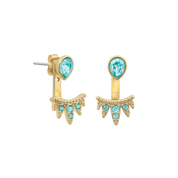 Teardrop Jacket Earrings - Turquoise Colored Crystal/Gold Plated