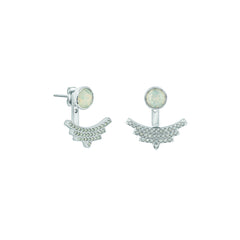 Pavé Arc Jacket Earrings - White Opal Crystal/Rhodium Plated