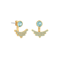 Pavé Arc Jacket Earrings - Light Turquoise Crystal/Gold Plated