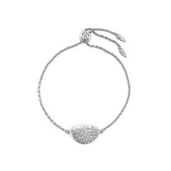 Scattered Crystal Slide Bracelet - Crystal/Rhodium Plated