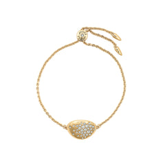 Scattered Crystal Slide Bracelet - Crystal/Gold Plated