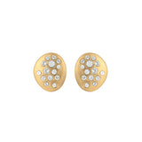 Scattered Crystal Post Earrings - Crystal/Gold Plated