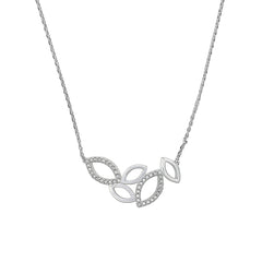 Small Open Petal Necklace - Crystals/Rhodium Plated