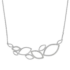 Large Open Petal Necklace - Crystal/Rhodium Plated