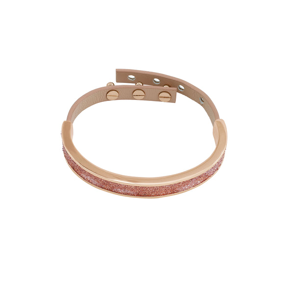 Crystal Fabric & Leather Cuff - Crystal Fabric/Rose Gold Plated