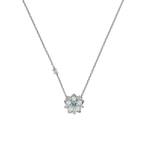 Crystal Flower Necklace - White Opal & Blue Crystal/Rhodium Plated