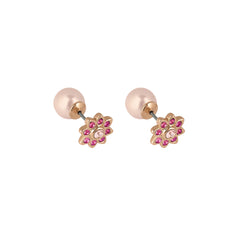 Crystal Flower Reverse Earrings - Pink Crystal/Gold Plated