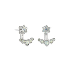 Crystal Flower Jacket Earrings - White Opal Crystal/Rhodium Plated